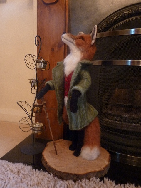 """Mr Fox~  My needle felt sculpture """"Mr Fox"""" he stands 22"""" tall. He is solid, needle felted merino wool with a wet felted jacket and waist coat."""