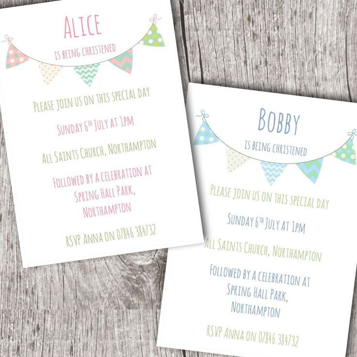 Personalised Invitations • Christening ~ Baptism ~ Naming Day • Girl/Boy Bunting in Home, Furniture & DIY, Celebrations & Occasions, Cards & Stationery | eBay