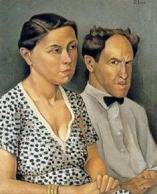 The Artist and His Wife by Otis William Oldfield (1890-1969), American was one of the artists involved in the New Deal Public Works Art Project in the Coit Tower mural (Bjws)