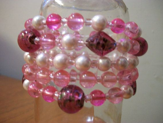 5 Strand Pink Glass Bead Bohemian Bracelet Cuff by Dare2beUNIQUE