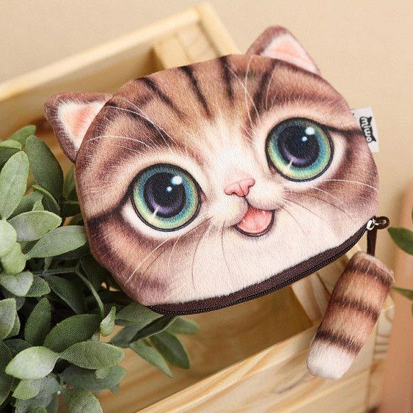 New Cute Cat Face Zipper Case Coin Purse female Wallet / child purse Makeup Buggy Bag Pouch,SKU 0311A