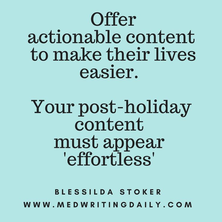 Focus your post-holiday marketing with actionable content.   Instead of asking for direct sales, use content marketing approach.  Tackle subjects that matter to your customers' everyday lives.  Your content should have a 'takeaway.' Ignite more conversion.    #copywriter