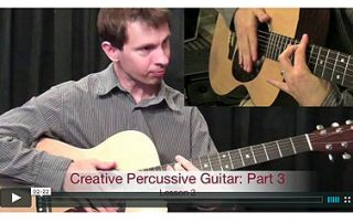 This lesson will take your percussive guitar playing to a new level. You'll be playing over top of the fingerboard, using your fretting hand to strike the body of the guitar and using palm and slap techniques | www.elmore-music.com |