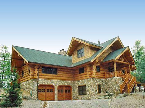 Log cabin home with a double car garage ballin for Log carports