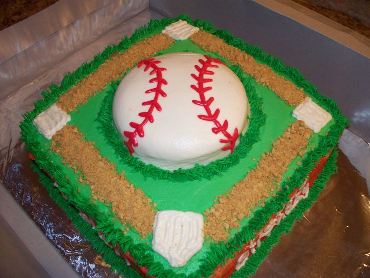 BASEBALL THEME BIRTHDAY CAKE!!! - BASEBALL THEME CAKE.  THIS IS TWO LAYERS OF YELLOW CAKE COVERED IN BUTTERCREAM.  I USED A 10 INCH SQUARE PAN.  THE DIRT IS CRUSHED GRAHAM CRACKERS.  I ALSO USED THE VIVA METHOD TO SMOOTH THE BALL, FIELD AND THE SIDES OF THE CAKE.  THIS CAKE WAS SOOO MUCH FUN TO MAKE!  NOW, I CAN'T WAIT TO START ON THE NEXT CAKE..LOL....TFL!!!