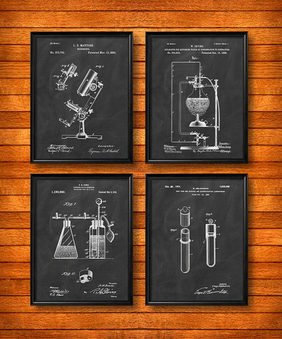 SET of 4 SCIENCE Posters, Vintage Patent Illustration, Art Print, Canvas, Wall Art, Biology, Chemistry, Science Gift s68