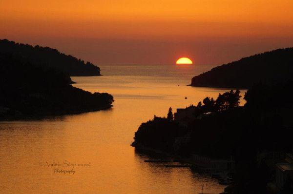Sunset over Vela Luka, island of Korcula. #Croatia