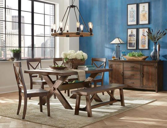 Beautifully Distressed Brown Oak Finishing On The Claremont Dining Collection Brings Warmth And Character To
