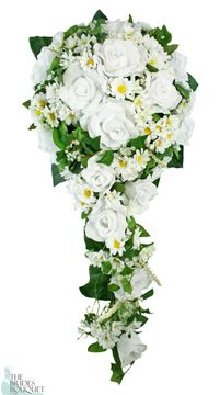 Daisy Silk Rose Cascade. Light and Airy! This cascade has crisp white daisies, snow white garden roses, tiny shasta daisy accents, rich green leaves and tendrils of English ivy.
