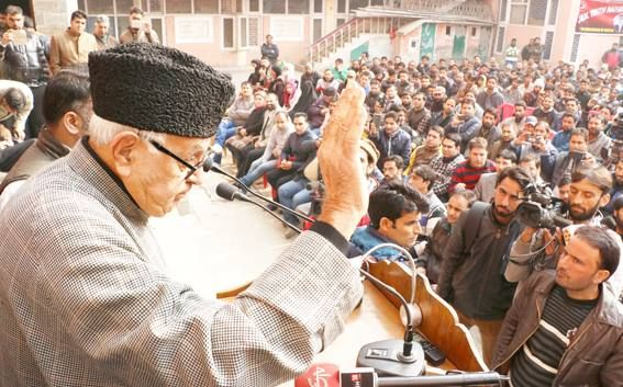 NC patron Farooq Abdullah addressing party workers during youth convention at its headquarters in Srinagar. Excelsior/Shakeel