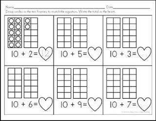 """FREE MATH LESSON - """"Teen Number Ten Frames: A Valentine's Day Freebie!"""" - Go to The Best of Teacher Entrepreneurs for this and hundreds of free lessons. Kindergarten - 1st Grade   #FreeLesson   #Math   #ValentinesDay http://www.thebestofteacherentrepreneurs.com/2016/01/free-math-lesson-teen-number-ten-frames.html"""