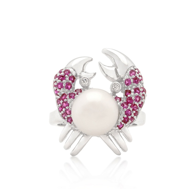 Ruby CZ and Pearl Crab Ring