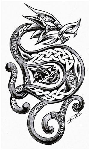 ('S 》》· · · 》》· · ]| Repinned from Viking Celtic ~Dragon tattoo |[ #dragon #tattoos #tattoo