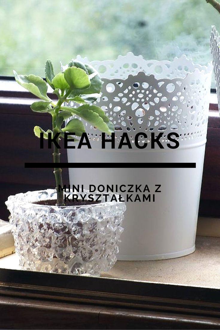 DIY. Fake crystal flower pot. #diy #flower #pot #fake #crystal #ikea #hacks #doniczka #kryształki