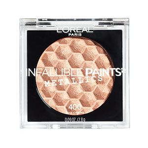 New L'Oreal Infallible Paints Metallic eye shadow in Rose Chrome. Create a rose gold eye makeup look that lasts all day.