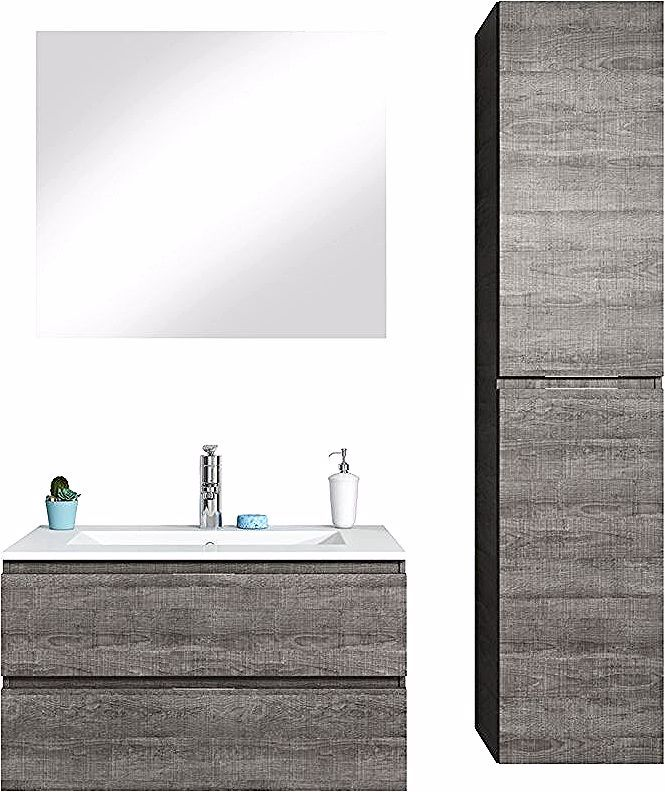 Meuble De Salle De Bain Dakar 80cm Lavabo Gris Armoire De Rangement Meuble Lavabo Salle De Bain Miroir Badpl Lighted Bathroom Mirror Mirror Bathroom Mirror