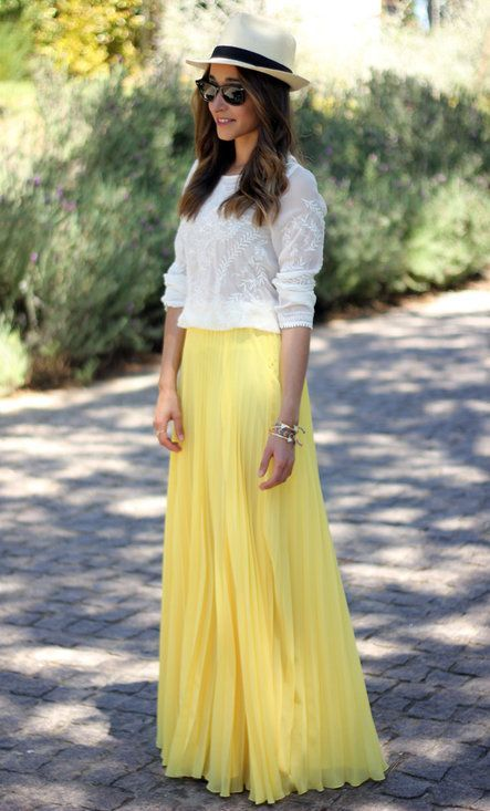 nice yellow maxi skirt and white floral tee