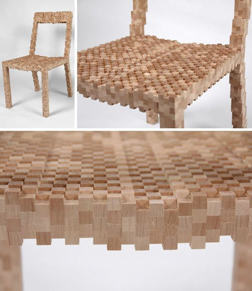 Made up of 1/2″ x 1/2″ cubes that are laminated together like bricks, the Pixel Chair is by the extremely talented Vivian Chiu.