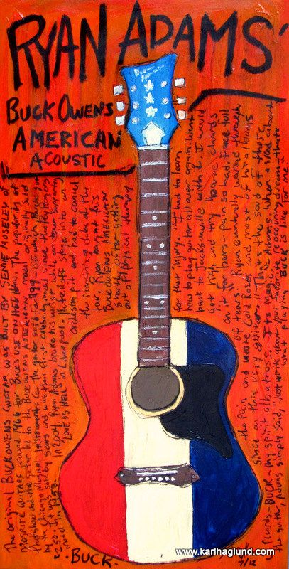 Ryan Adams Buck Owens American acoustic guitar art print. $20.00, via Etsy.