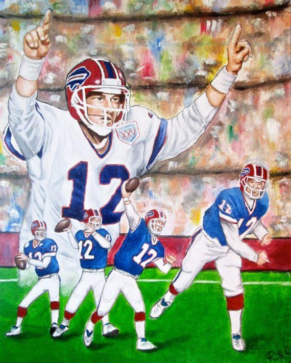JIM KELLY Buffalo Bills Quarterback  Portrait  by RuthOosterman, $25.00  8 x 10 unframed Art Print of the original oil painting of Jim Kelly, the Buffalo Bills Quarterback.  Makes a great gift for a Buffalo Bills fan or a man cave.
