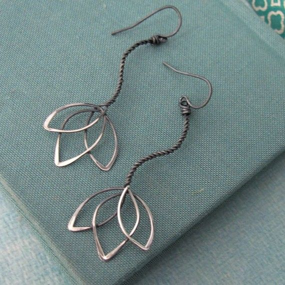 lotus wire earrings by laladesignstudio on etsy