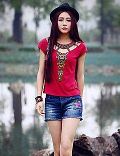 Női Póló,Hímzett Nyári Rövid ujjú Piros Pamut