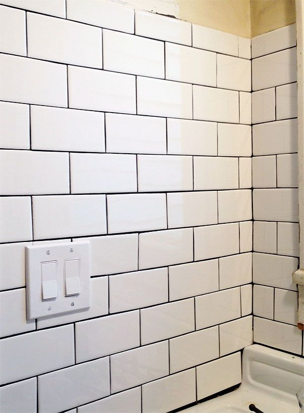 White Subway Tile Black Grout Kitchen To Cook In