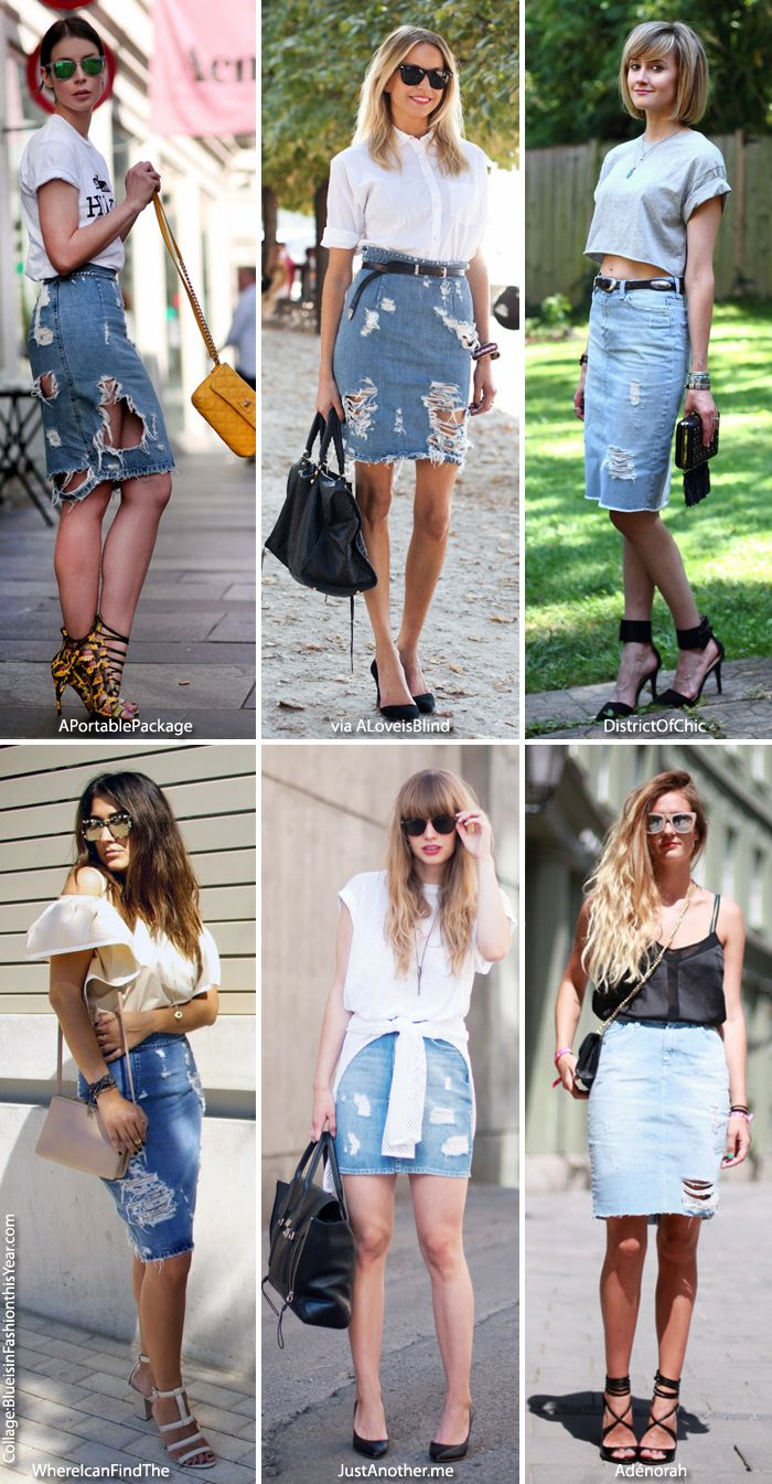 Inspiration: Distressed Denim Skirt | Outfits 11 ( Denim/ Jeans