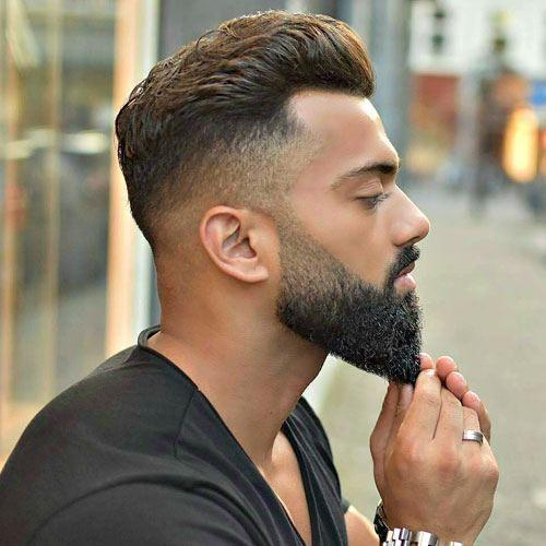 Dapper Haircuts - High Fade with Brush Back and Beard