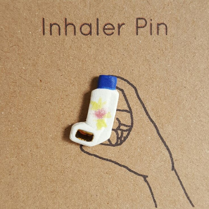 And inhale! What every asthmatic wants, an inhaler lapel pin! | Jemma Millen Ceramics