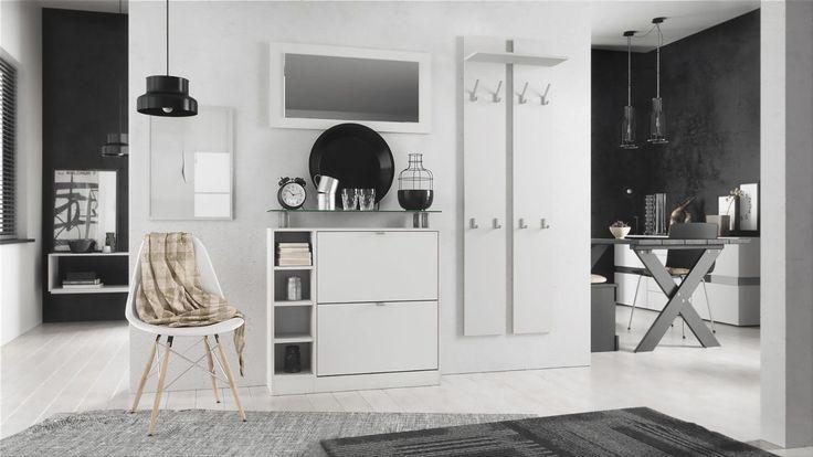 Garderoben-Set mit Schuhschrank, Spiegel und Garderobe. Wunderschön und ganz in modernem weiß passend für viele Einrichtungsstile.  vladon.de