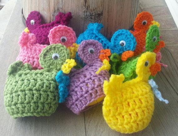 Crochet easter egg DUCK cozy, fun, seasonal,  & cute. covers plastic Easter egg Handmade by MalindasDesigns on Etsy