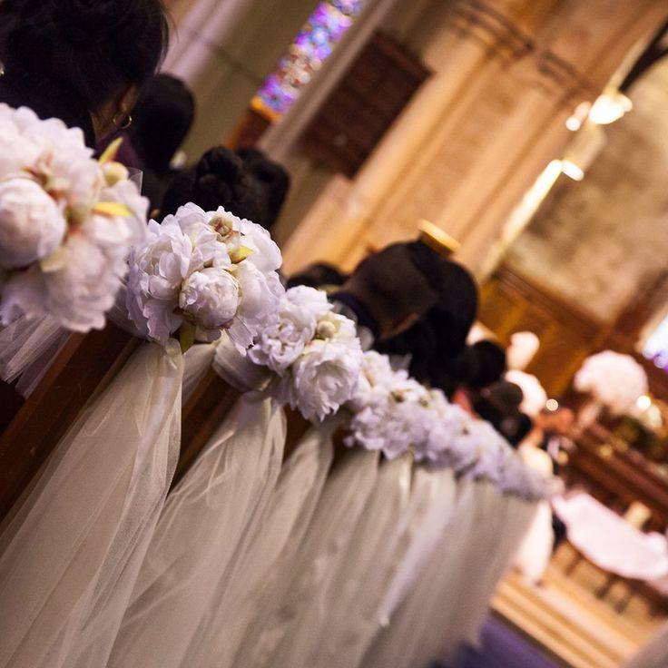 Pretty Church Pews with silk peonies  Hire Enq: info@elanakweddings.com.au