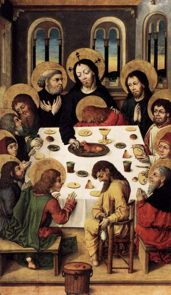 John lies quite curious in the lap of Christ. And check-out Judas in the front (the one without nimbus). Last supper by the Master of the Housebook (1475-80).