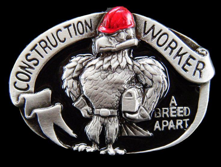 Contruction Worker Profession Belt Buckle Constructions Workers Union Eagle Tool Box Professions Belts Buckles #construction #roadblock #roads #contructionworker #worker #union #lunchbox #chicken #rooster