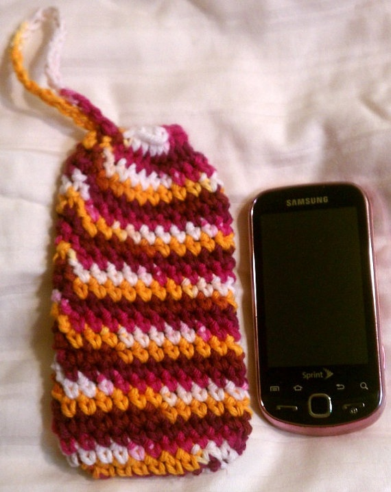 Crocheted Pouch Purple Pink and Orange by MrzJaquesCrochetedIt, $8.83