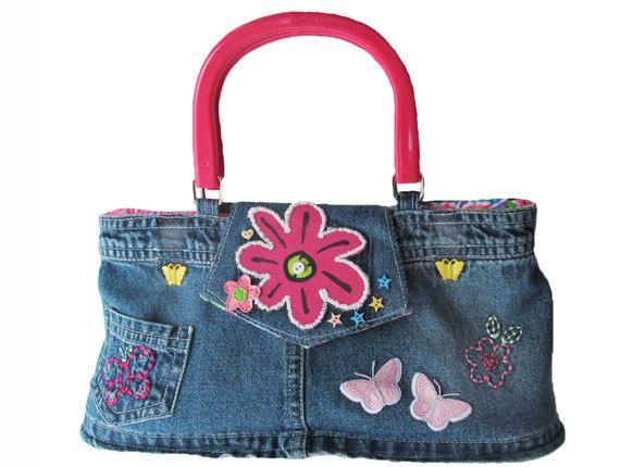 Kids denim purse / Teen butterfly bag / by kkdesignerhandbags, $24.99
