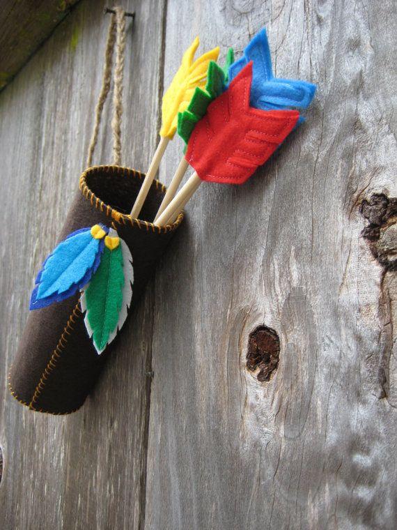 Pow wow party Pow wow Little Indian dress up prop felt arrows quiver of arrows children wall decoration