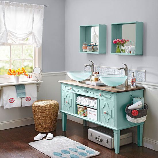With a little TLC, this dining room buffet easily transformed into a double-sink vanity.