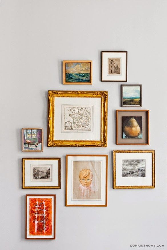 a perfect gray: gray walls gold frames <3