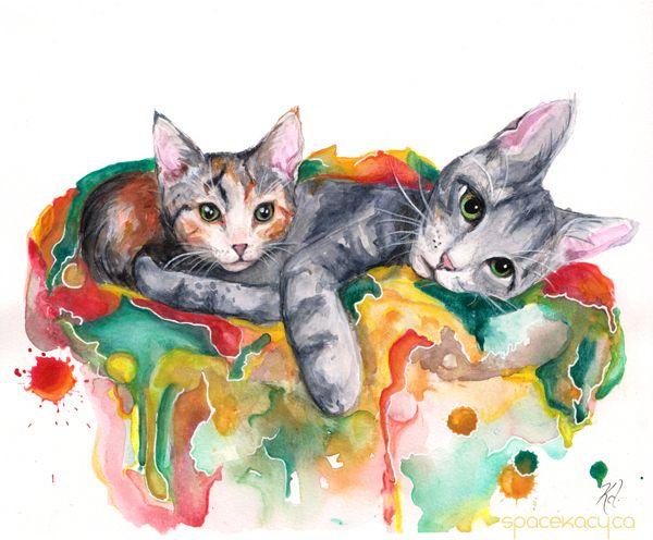 """Arthur & Noel"" https://www.etsy.com/ca/listing/522135213/watercolour-art-print-cuddling-kittens?ref=listing-shop-header-2"