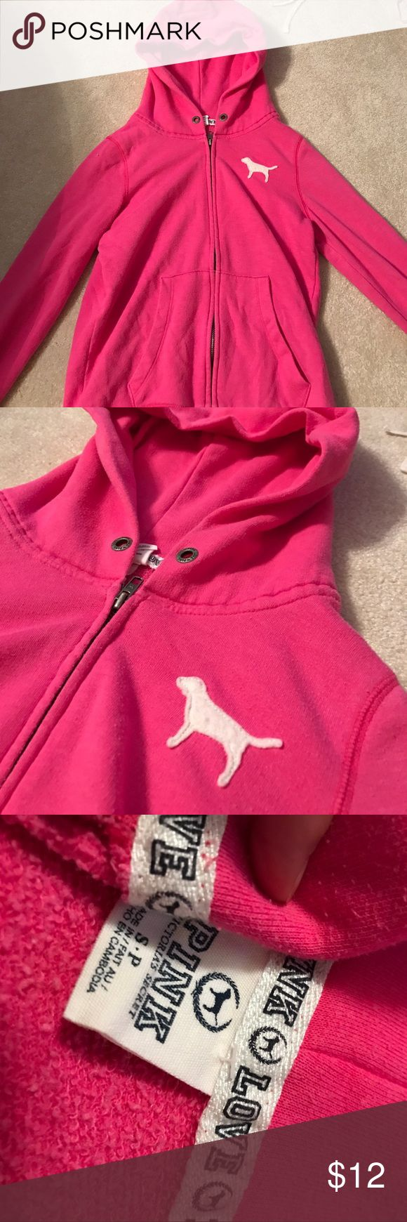 Pink Zip up jacket Pink zip up jacket from PINK Victoria Secret. Size Small. Worn frequently, but still great condition and very comfy! This was my favorite jacket, just out grew it! PINK Victoria's Secret Jackets & Coats