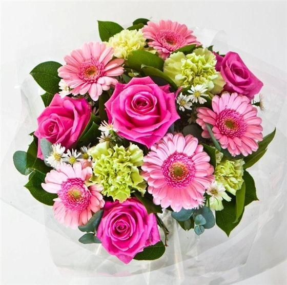 Pretty In Pink Hand Tied Bouquet. Sold in Store or online from our website. Original pin, not a repin.