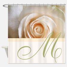 Elegant Rose and Monogram Design Shower Curtain for