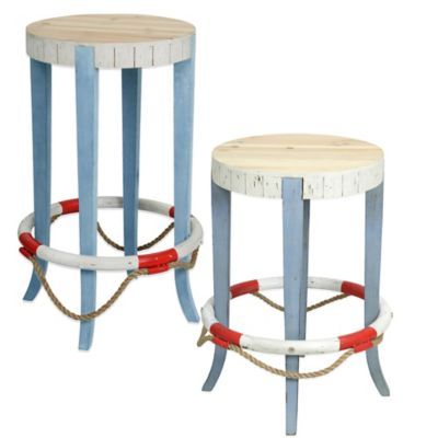 Coastal Life Preserver Wooden Stool In Blue White
