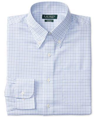 Lauren Ralph Lauren Men's Classic-Fit Non-Iron Blue and White Tattersall Check Dress Shirt