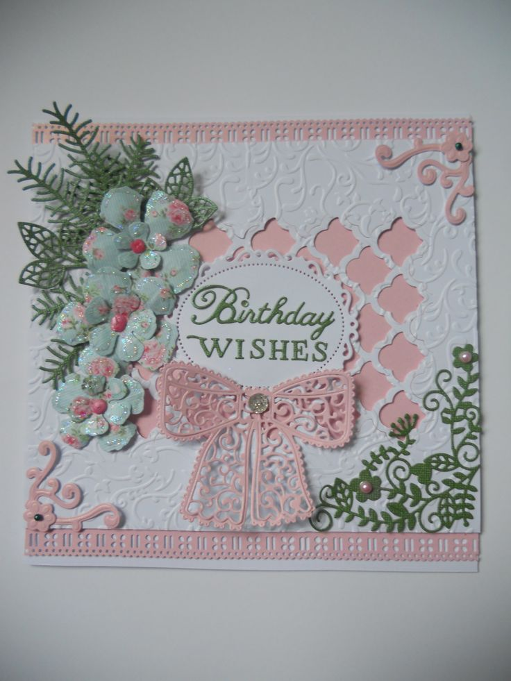 Spellbinders Grateful Lattice,Tattered Lace Little Bird corners and Chantilly Bow,Spellbinders Rose Creations.