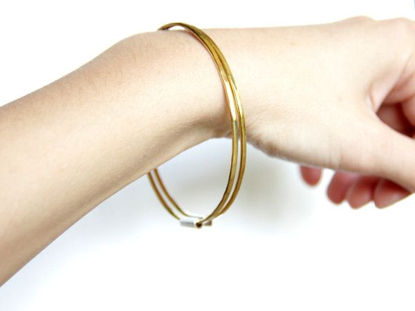 Thin Brass and Sterling Silver Bangles - Set Of Two