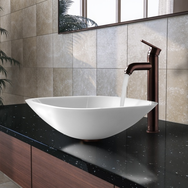 VIGO VGT206 Square Shaped White Phoenix Stone Glass Vessel Sink With Oil  Rubbed Bronze Faucet