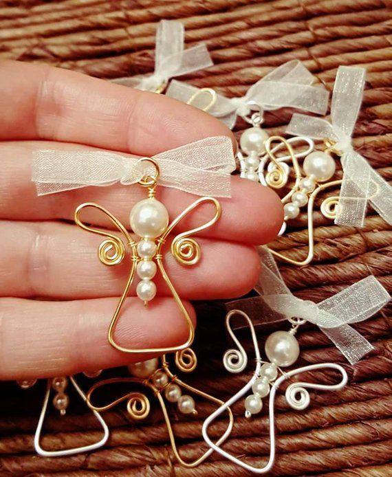 Draht umwickelt, Engel Anhänger, Swarovski weiße Perlen, Baby-Dusche-Geschenk, handgemacht, Familie, Marturie, Zubehör
